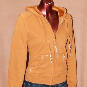 Jackets & Blazers - Stitched Mustard Hoodie with Fur Inside